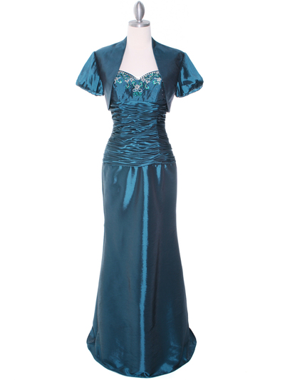 29591 Jade Taffeta Evening Gown with Bolero - Jade, Front View Medium