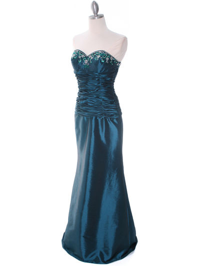 29591 Jade Taffeta Evening Gown with Bolero - Jade, Alt View Medium