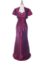 29591 Raspberry Taffeta Evening Gown with Bolero
