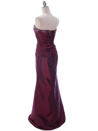 29591 Raspberry Taffeta Evening Gown with Bolero - Raspberry, Back View Medium