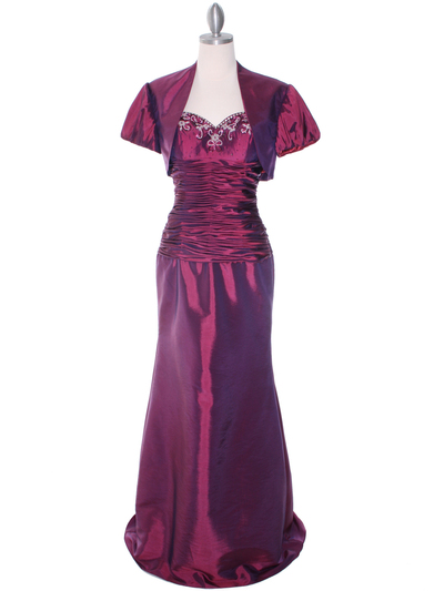 29591 Raspberry Taffeta Evening Gown with Bolero - Raspberry, Front View Medium