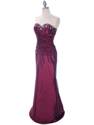 29591 Raspberry Taffeta Evening Gown with Bolero - Raspberry, Alt View Medium