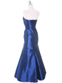 29283 Blue Taffeta Evening Gown - Blue, Back View Thumbnail