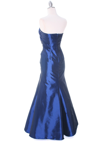 29283 Blue Taffeta Evening Gown - Blue, Back View Medium