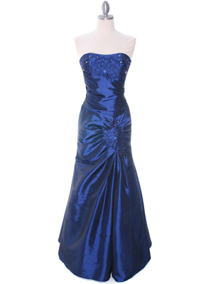 29283 Blue Taffeta Evening Gown, Blue