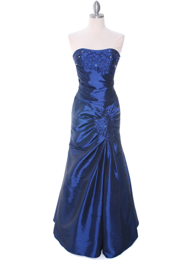29283 Blue Taffeta Evening Gown - Blue, Front View Medium