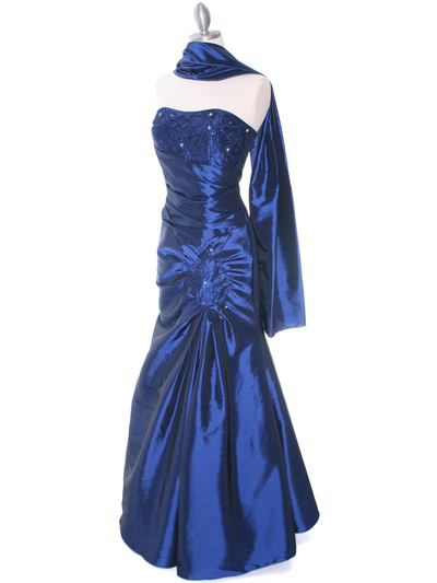 29283 Blue Taffeta Evening Gown - Blue, Alt View Medium