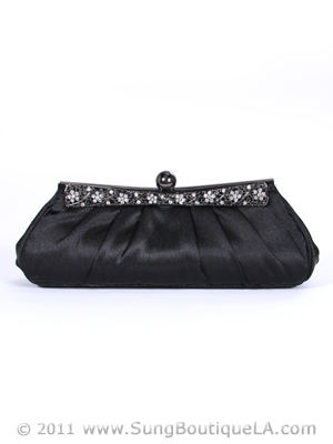 M40001 Black Evening Clutch with Rhinestone Frame, Black