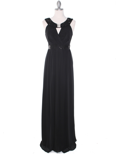 MB6090 Cleopatra Evening Dress - Black, Front View Medium
