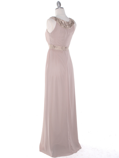 MB6090 Cleopatra Evening Dress - Taupe, Back View Medium