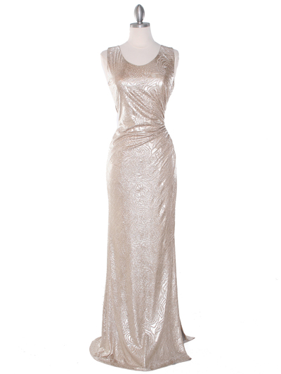 MB6100 Tank Evening Dress - Gold, Front View Medium