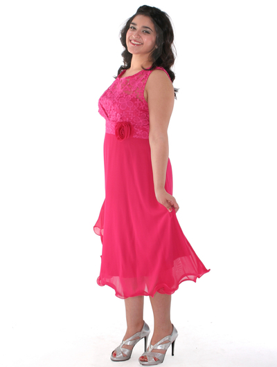 MB6105 Sleeveless Floral Cocktail Dress - Fuschia, Front View Medium