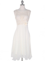 MB6105 Sleeveless Floral Cocktail Dress - Ivory, Front View Thumbnail