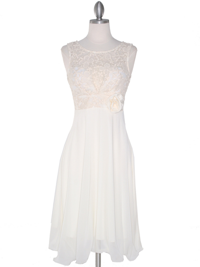 MB6105 Sleeveless Floral Cocktail Dress - Ivory, Front View Medium