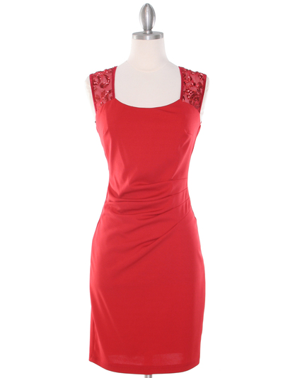 MB6116 Sequin Back Cocktail Dress - Red, Front View Medium