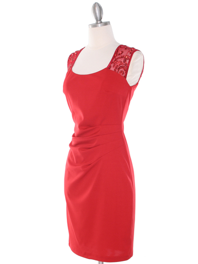 MB6116 Sequin Back Cocktail Dress - Red, Alt View Medium