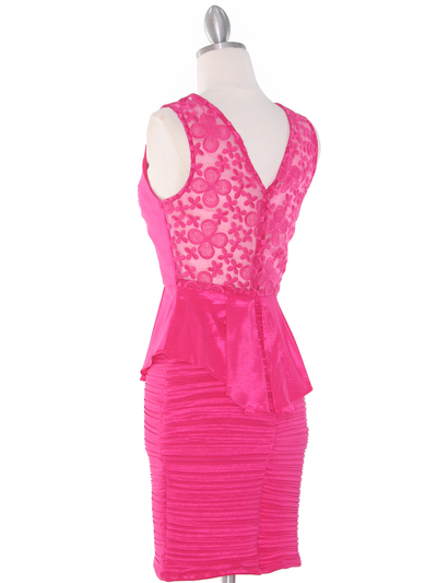 MB6151 Peplum Cocktail Dress - Pink, Back View Medium