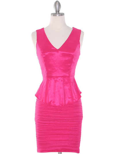 MB6151 Peplum Cocktail Dress - Pink, Front View Medium