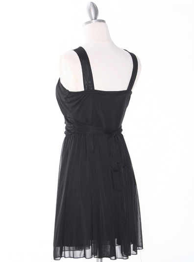NB1077 High Neck Sleeveless Cocktail Dress - Black, Back View Medium