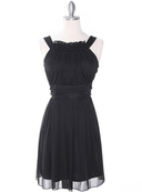 NB1077 High Neck Sleeveless Cocktail Dress, Black