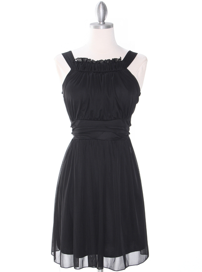 NB1077 High Neck Sleeveless Cocktail Dress - Black, Front View Medium
