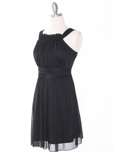 NB1077 High Neck Sleeveless Cocktail Dress - Black, Alt View Medium