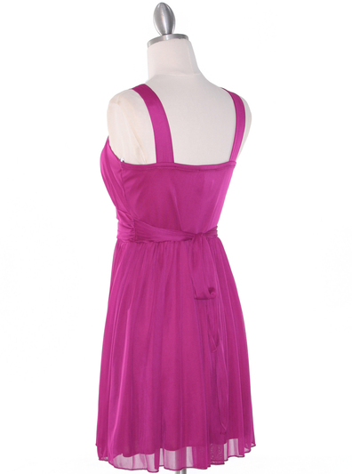 NB1077 High Neck Sleeveless Cocktail Dress - Magenta, Back View Medium