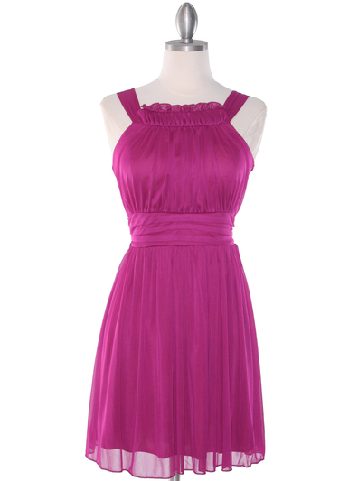 NB1077 High Neck Sleeveless Cocktail Dress - Magenta, Front View Medium