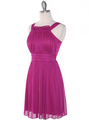 NB1077 High Neck Sleeveless Cocktail Dress - Magenta, Alt View Thumbnail