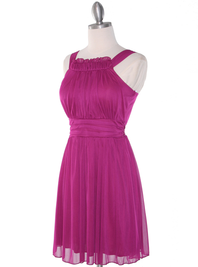NB1077 High Neck Sleeveless Cocktail Dress - Magenta, Alt View Medium