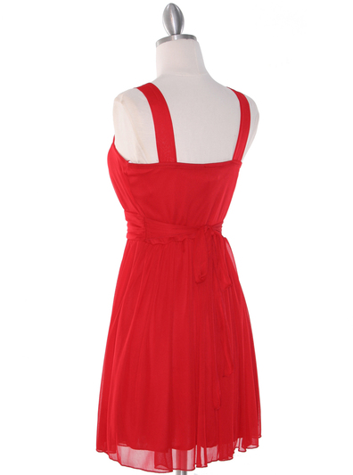 NB1077 High Neck Sleeveless Cocktail Dress - Red, Back View Medium