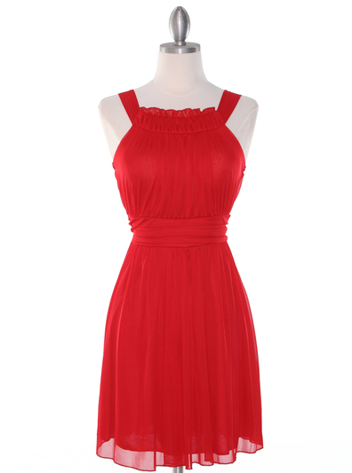 NB1077 High Neck Sleeveless Cocktail Dress - Red, Front View Medium