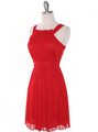 NB1077 High Neck Sleeveless Cocktail Dress - Red, Alt View Thumbnail