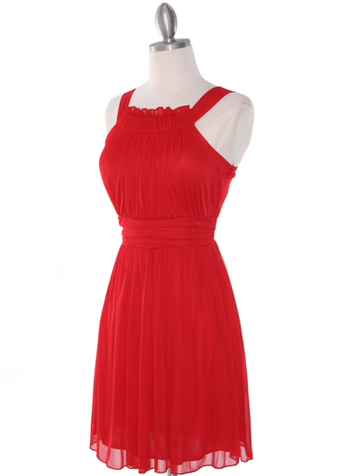 NB1077 High Neck Sleeveless Cocktail Dress - Red, Alt View Medium