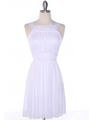 NB1077 High Neck Sleeveless Cocktail Dress - White, Front View Thumbnail