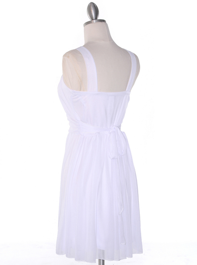 NB1077 High Neck Sleeveless Cocktail Dress - White, Back View Medium