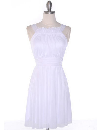 NB1077 High Neck Sleeveless Cocktail Dress - White, Front View Medium