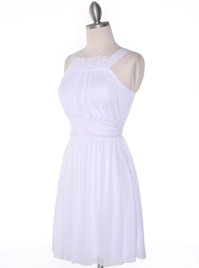 NB1077 High Neck Sleeveless Cocktail Dress - White, Alt View Medium