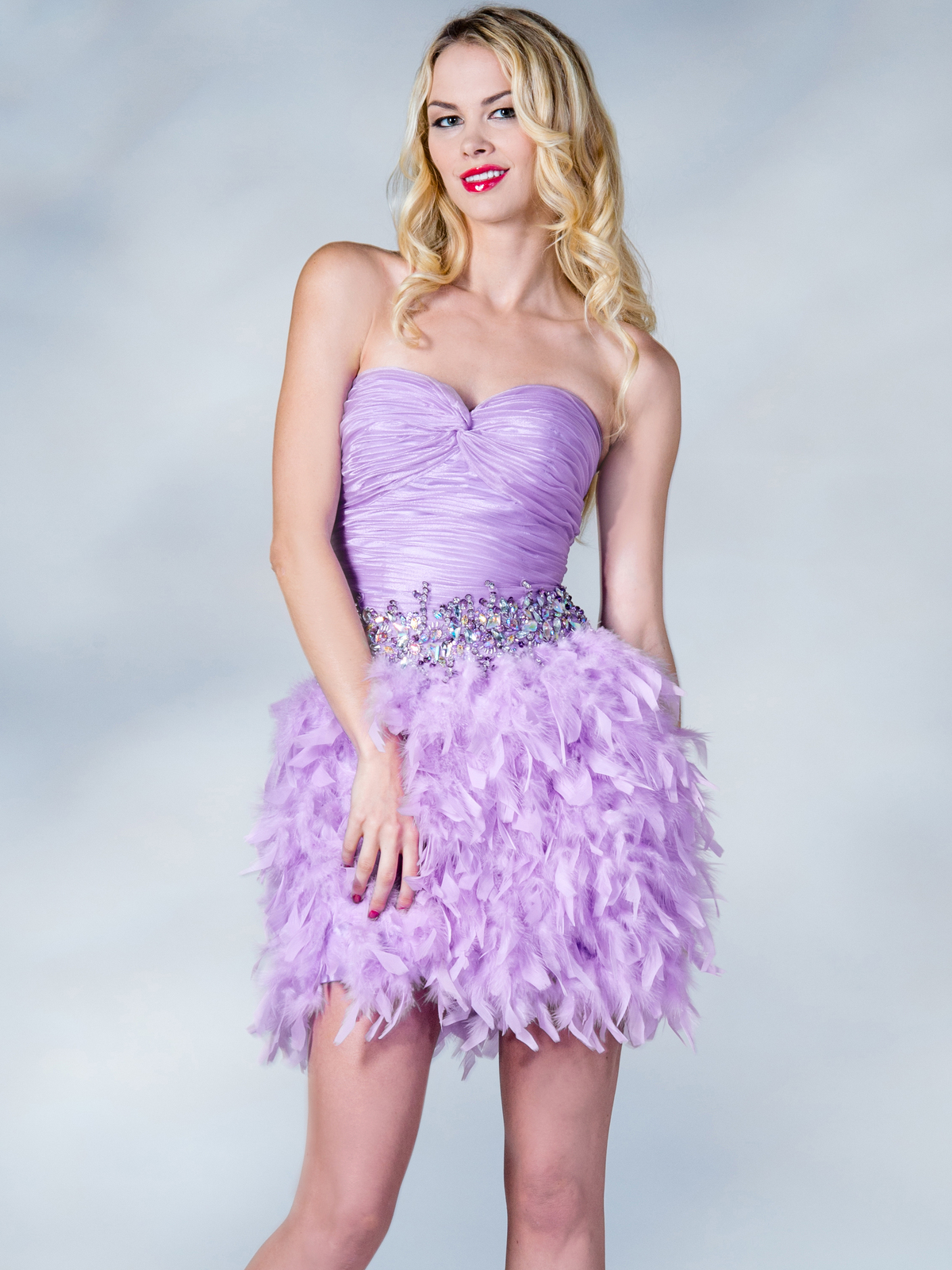 Lilac Feather Cocktail Dress   Sung Boutique L.A.