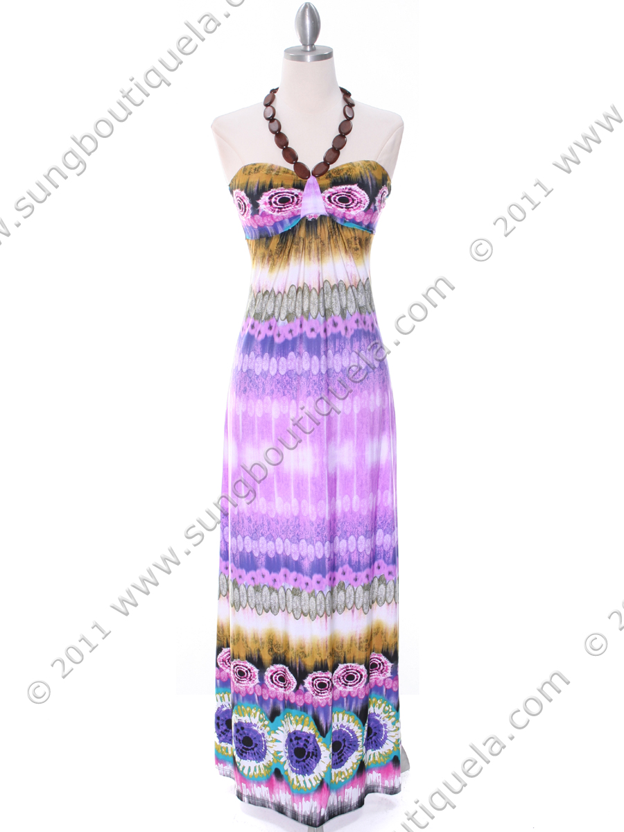OD101524 Purple Print Maxi Dress - Front Image