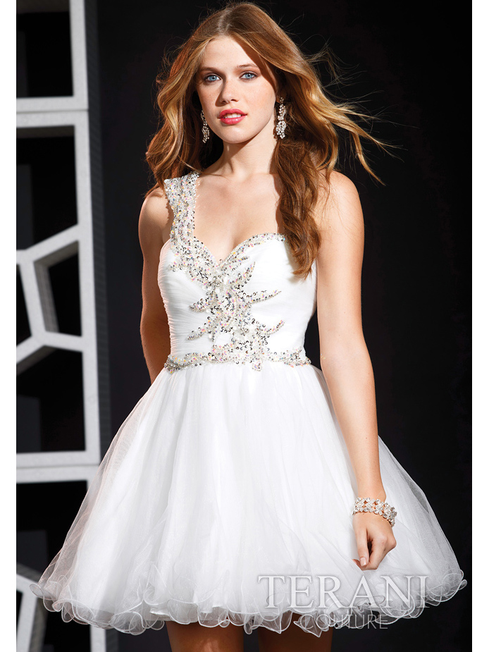 Beaded One Shoulder Short Prom Dress By Terani | Sung Boutique L.A.