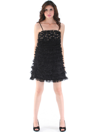 40299 Black Cocktail Dress By Black - Black, Front View Medium