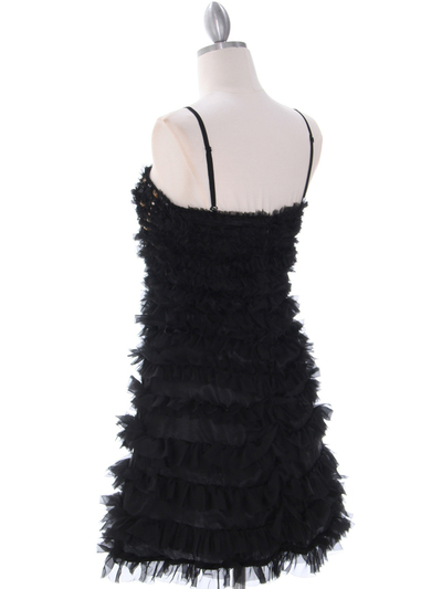 40388 Black Cocktail Dress By Black - Black, Back View Medium