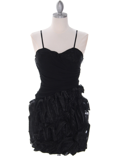 40453 Black Cocktail Dress By Black - Black, Front View Medium