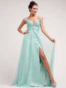 Mint Sexy and Plunge Evening Dress