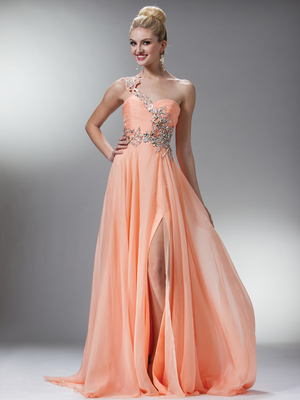 R2004 Peach Gorgeous Chiffon Evening Gown, Peach