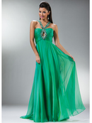 Jeweled Crisscross Keyhole Halter Prom Dress
