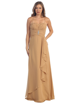 S29839 Pleated Empire Evening Dress, Gold