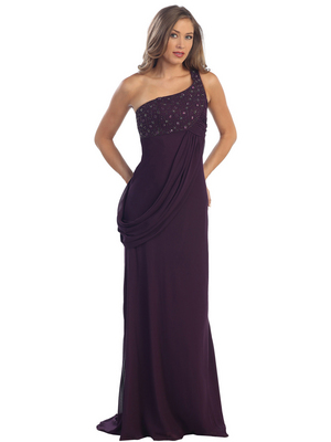 S29971 One Shoulder Beaded Prom Dress, Plum