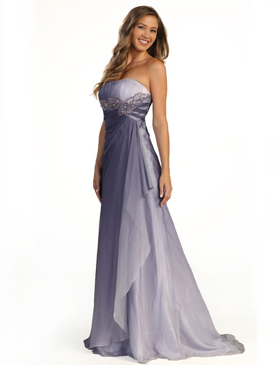 S30036 Dual Color Prom Dress - Purple, Front View Medium